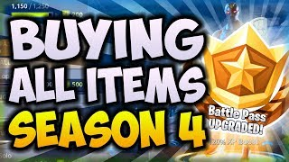 *NEW* OMEGA SKIN - BUYING EVERY ITEM IN BATTLE PASS SEASON 4!! (UNLOCK 100 TIER ITEMS IN FORTNITE)