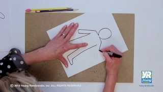 kid body outline drawing lesson