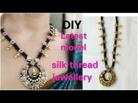 HOW TO Make Silk Thread Necklace Black Thread chain  Tutorials..!!