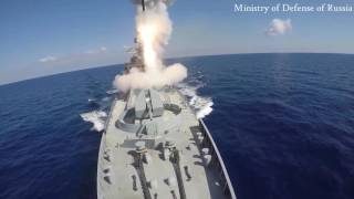 Russia blitzes ISIS targets with cruise missiles fired from frigates and a submarine