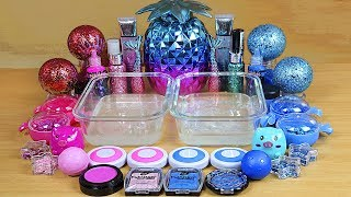 Slime PINK vs Light Blue Mixing makeup and glitter into Clear Slime Satisfying Slime Videos