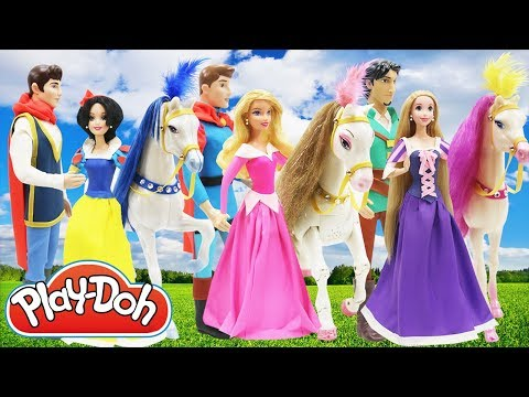"Thumbnail: Play Doh Dress ""Disney"" Couples Snow White Charming Rapunzel Flynn Aurora Philips and Horses"