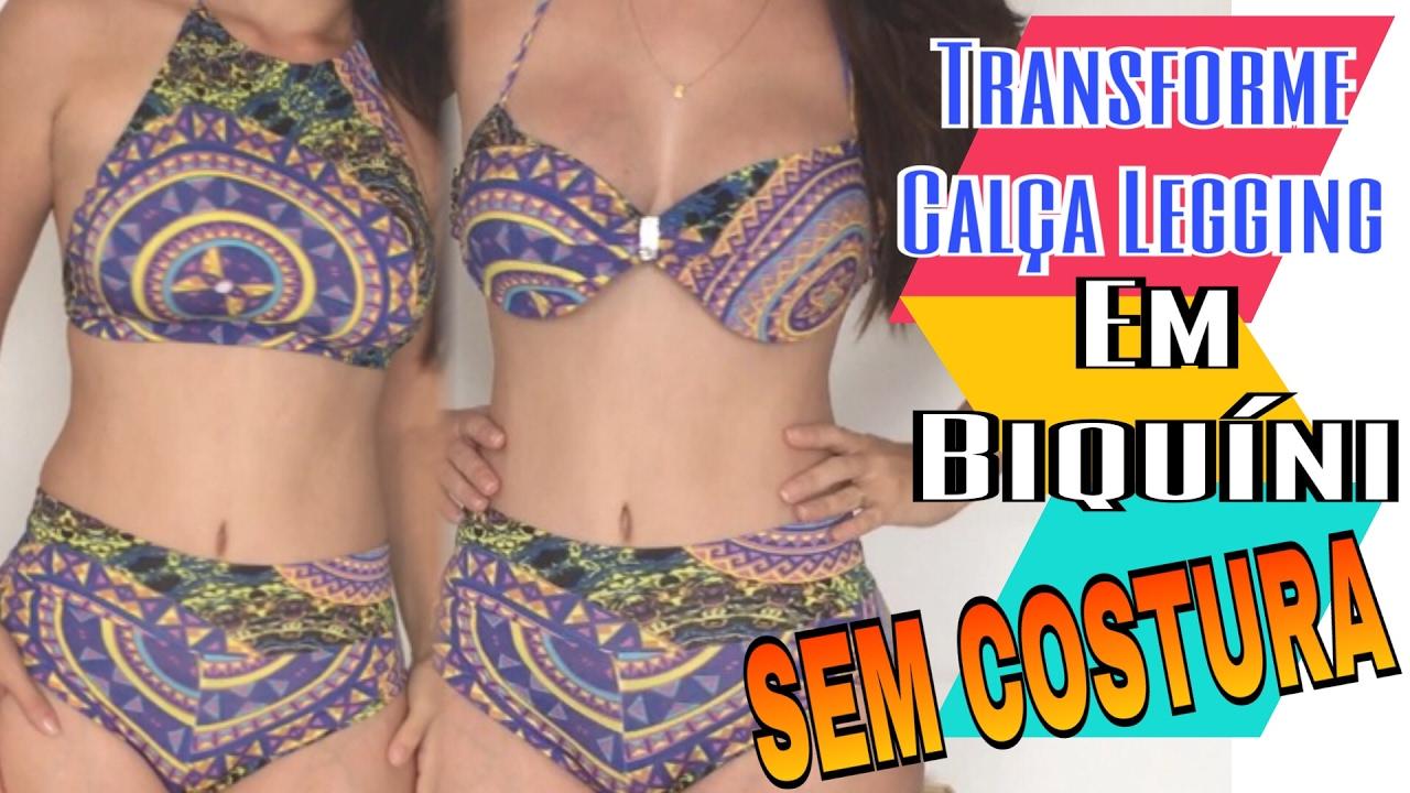 997b6a510 Biquíni com Legging - DIY Hot Pants SEM COSTURA - YouTube