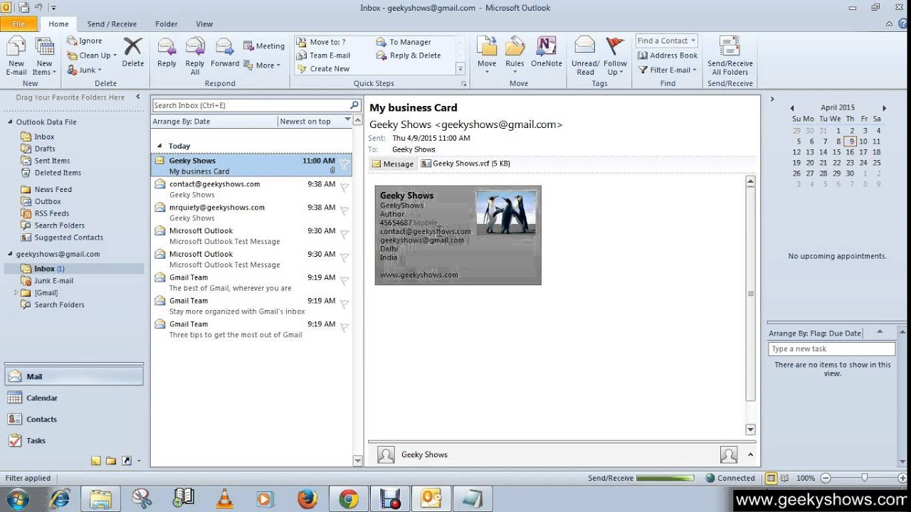 Microsoft Outlook 2010 Create Contacts from an Electronic Business ...