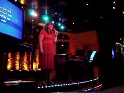 Wife singing Karaoke on a Honeymoon Cruise