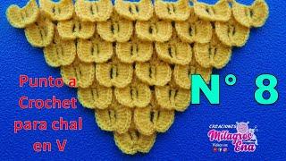 Punto Mariposa a crochet o ganchillo para Chales en V o en punta paso a paso