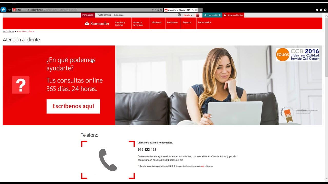Download Banco Santander teléfono atención al cliente gratuito