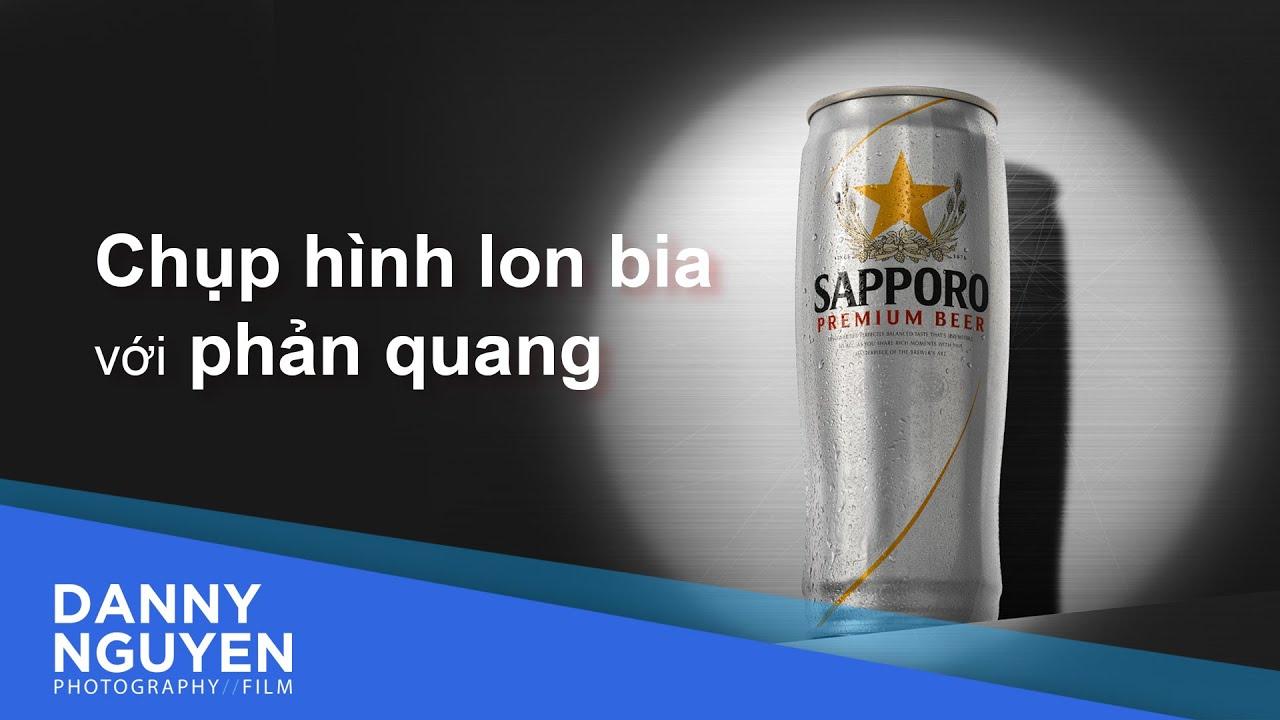 Chụp ảnh sản phẩm lon bia Sapporo chỉ với 1 phản quang