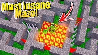 MOST INSANE DANGEROUS MAZE IN MINECRAFT! - (Secure Maze Challengew/ Little Kelly & Sharky)