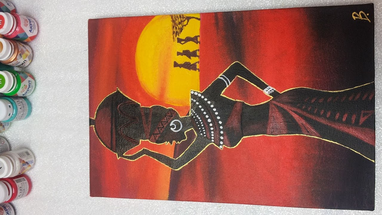African girl on sunset / Acrylic painting - Homemade ...