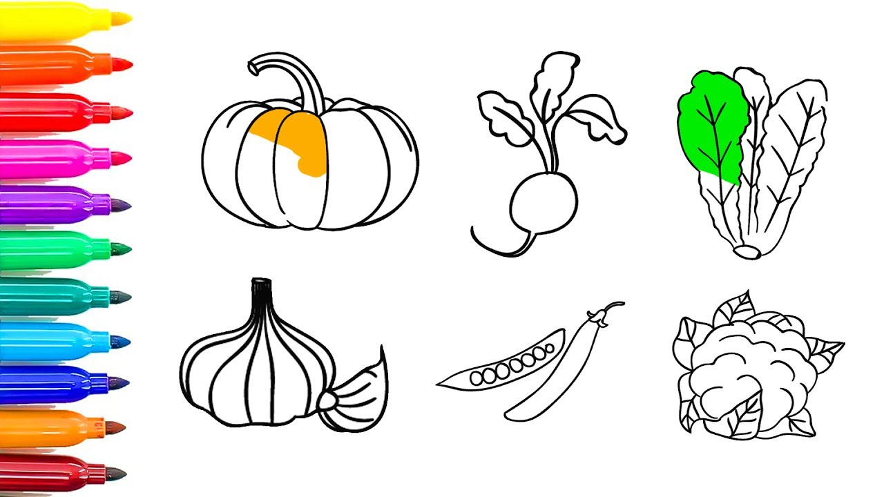 How To Draw Vegetables I PumpkinRadishCauliflowergarlic Coloring Pages For Children