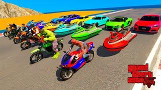 GTAV NEW Double Mega Ramps with Spiderman, Hulk ,Don & Super Heroes By Jet Ski, Bikes, Sport Cars screenshot 3