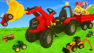 Download Tractor Toy Vehicles Ride On, Cars, Excavator, Trains & Fire Truck Surprise Toys for Kids Mp3 and Videos