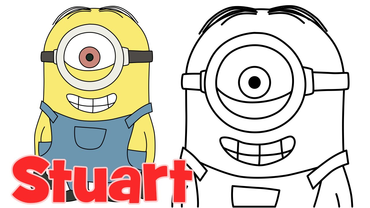 how to draw minions stuart step by step easy drawing for kids and beginners youtube - Easy Pictures For Kids To Draw