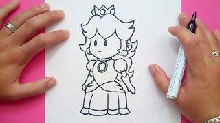 Como dibujar a la Princesa Peach paso a paso - Videojuegos Mario   How to draw Princess Peach