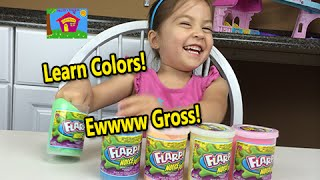 learn colours w gross slime funny fart noise putty teach baby toddler pre k learn colors video