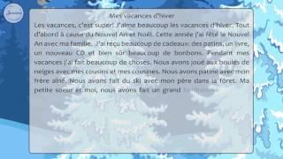Французский 5 Mesvacancesd'hiver  Рассказ о зимних каникулах