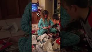 Hannah opens new cell phone Christmas 2017