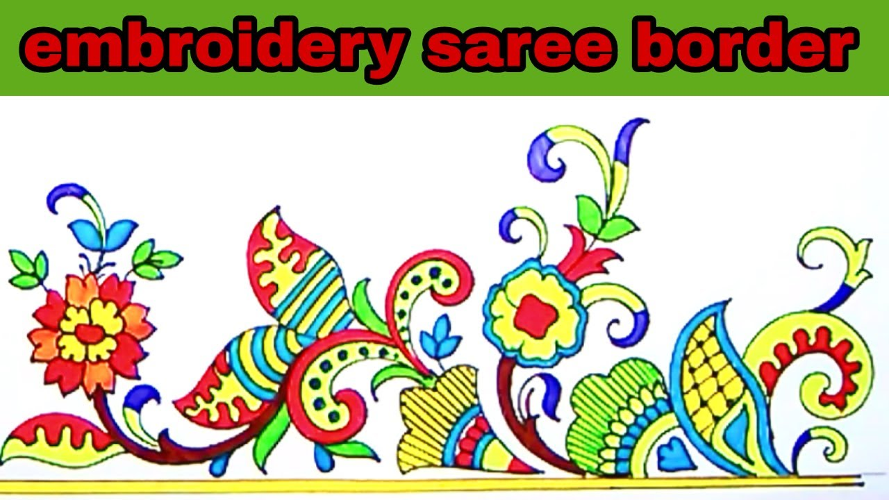 How To Draw Embroidery Designs On Sarees