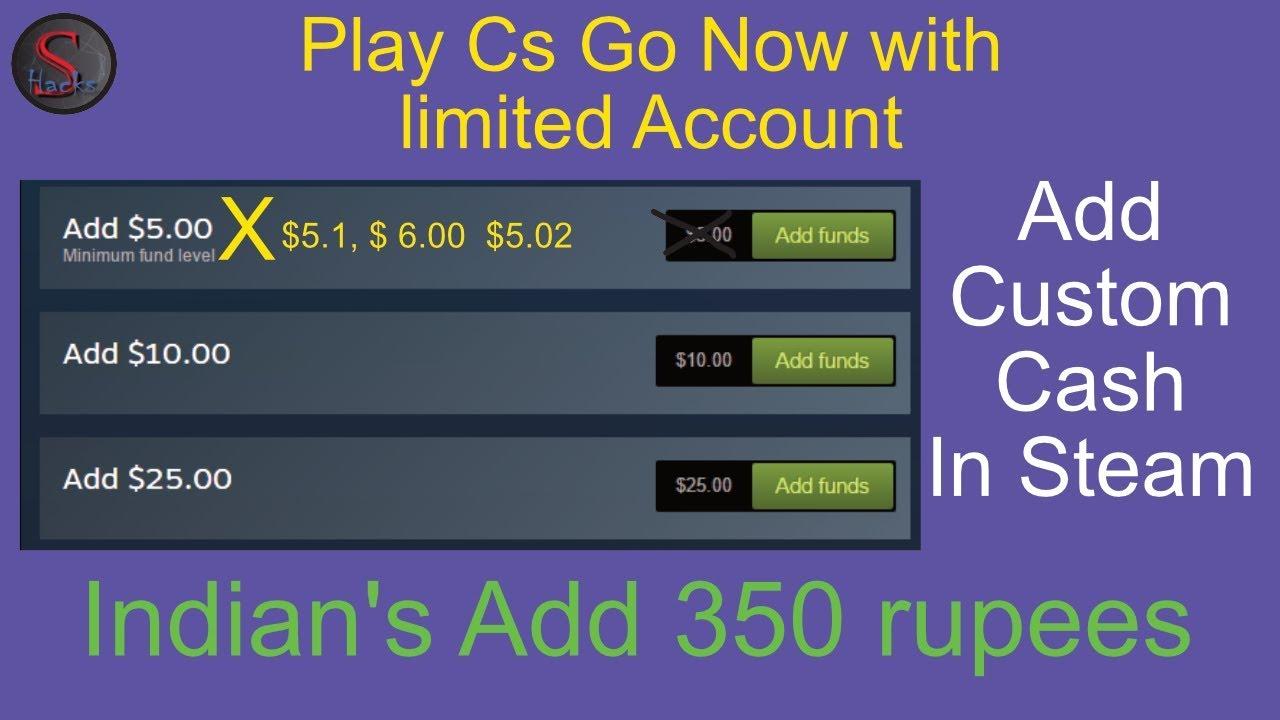 Add Custom Cash in Steam || Indians add exactly 5 $ now, add custom cash to steam, add any money to steam