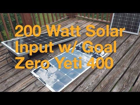 200 Watt Solar Input with Goal Zero Yeti 400