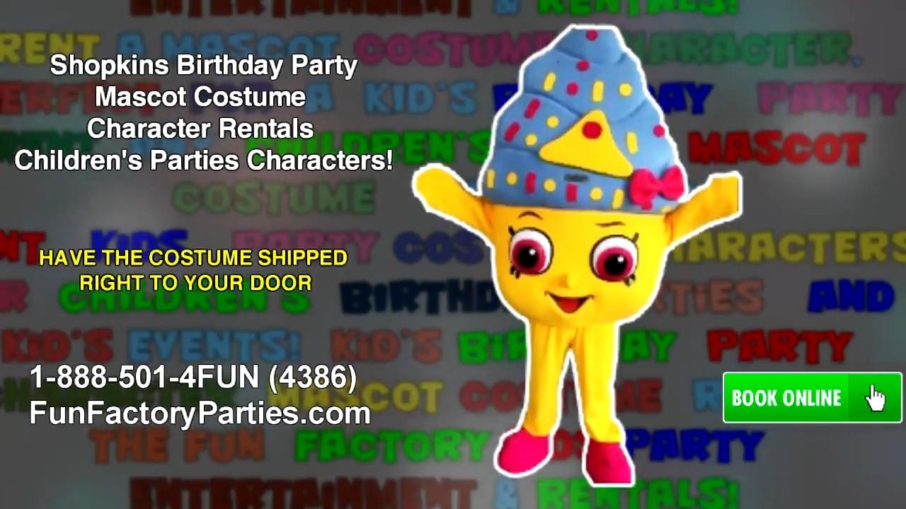 Shopkins Birthday Party Mascot Costume Character Rentals Children S Parties Characters Youtube