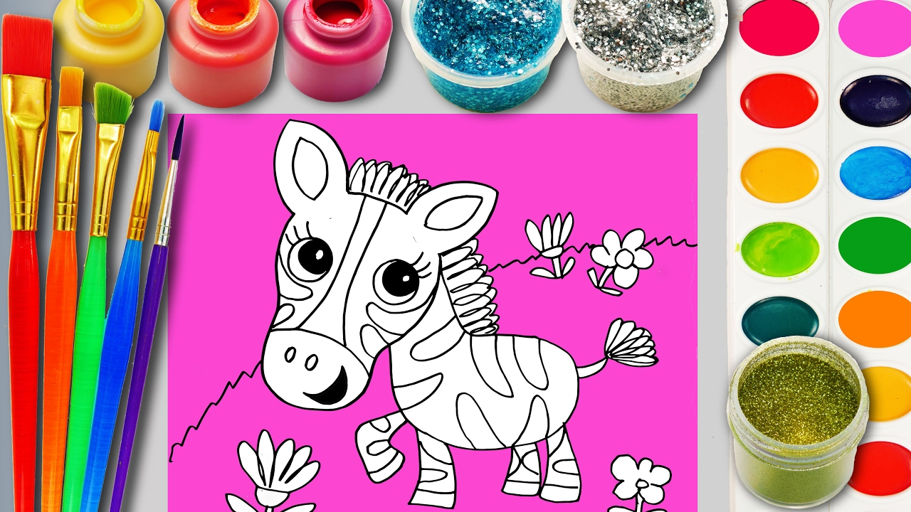 Zebra Coloring Page for Children to learn Colors Paint and Hand ...