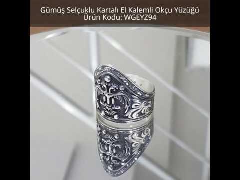 925 Ayar Gümüş Selçuklu Kartalı El Kalemli Okçu Yüzüğü - WGEYZ694