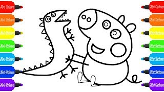 How to Draw Peppa Pig (George) plays with a Dinosaur Coloring Pages Videos for Kids