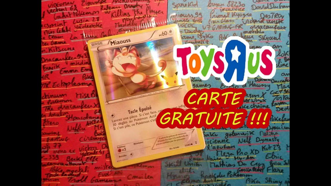 toys r us carte CARTE POKEMON GRATUITE CHEZ TOYS'R'US ! Spéciale Anniversaire 20