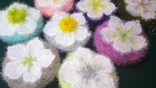 [나무사랑 ]코바늘 변산바람꽃 수세미 뜨기 /Cómo tejer una esponja de un flor maravilloso con un ganchillo(Crochet)