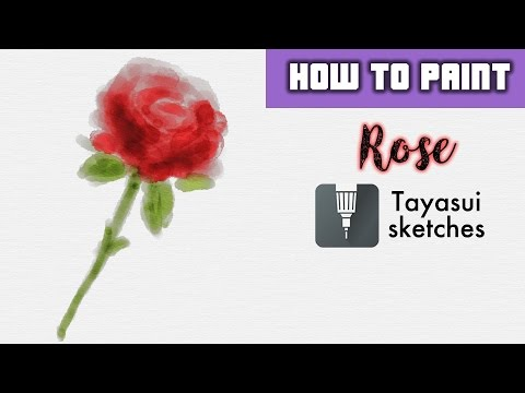 HOW TO: Watercolor digital painting of a Rose. Tayasui Sketches PRO app thumbnail