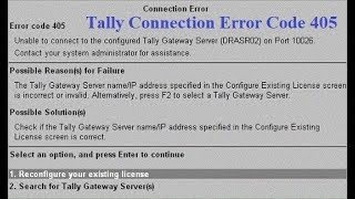 How to Solve Tally Connection Error Code 405