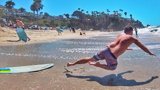 Hilarious Wipeouts and Epic Fails Learning How To Skimboard Waves
