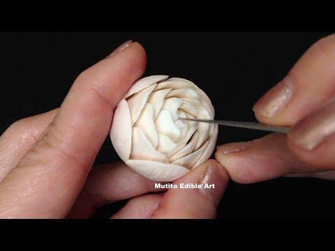 White Mushroom Rose Flower   Adv Lesson 1   Mutita Art Of Fruit & Vegetable Carving Videos