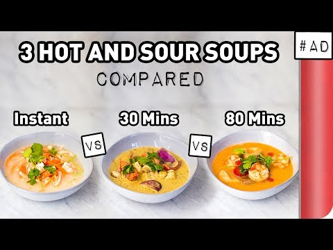 3 Hot and Sour Soup Recipes COMPARED (Instant vs Vegan vs Chef's Version)