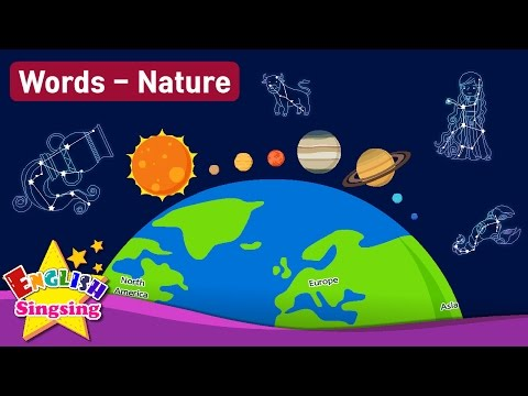 "Kids vocabulary Theme ""Nature"" - Solar System, Geography, Zodiac Sign  - Words Theme collection"
