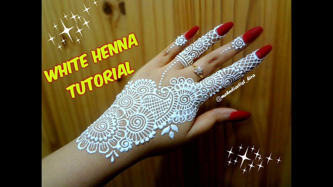 How To Apply Easy Simple Strip Bail White Henna Mehndi Designs On