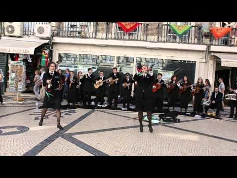 Students in Lisbon singing and dancing on the street