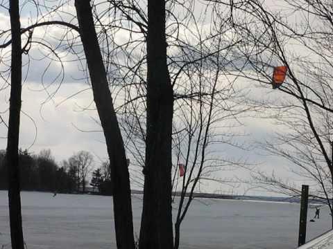 kite surf montreal hiver sur lac Parc-nature du Cap-Saint-Jacques