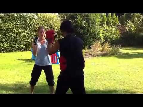 Jill Valentine AKA Sienna Guillory training for Resident Evil: Retribution