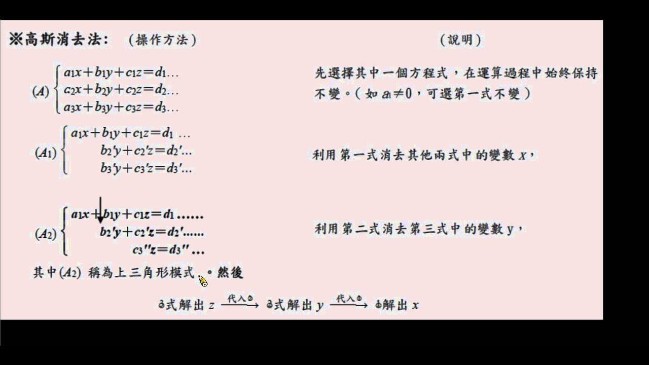 高中數學 第四冊 第三章 矩陣 3-1-01 線性方程組與矩陣-高斯消去法 - YouTube