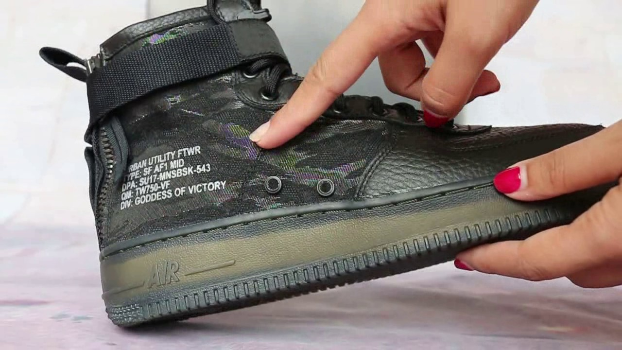 Nike Special Field Air Force 1 Mid Black Camo HD Show