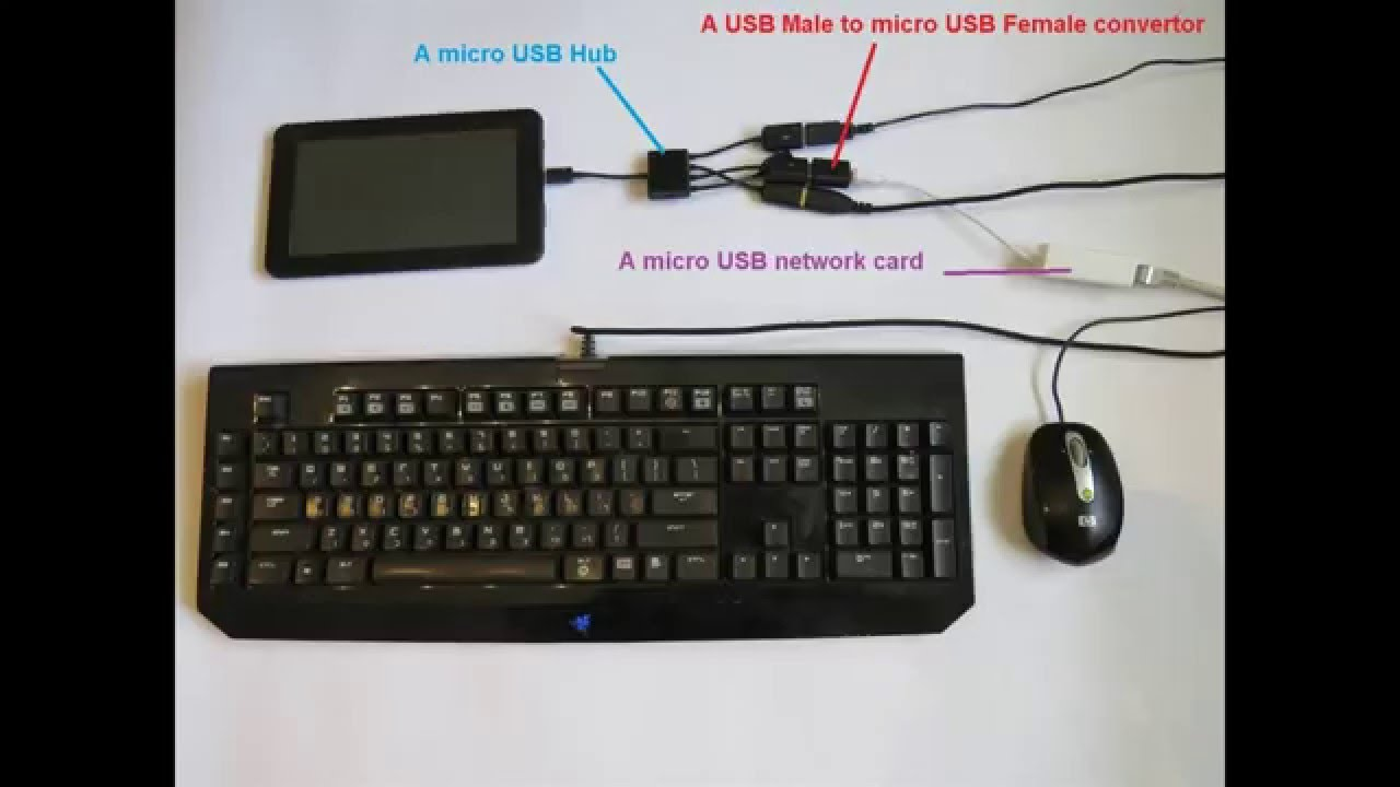 how to setup a wired internet tablet with wired keyboard and mouse youtube. Black Bedroom Furniture Sets. Home Design Ideas