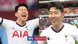 Heung-Min Son reacts to scoring Spurs' 94th minute winner against Aston Villa