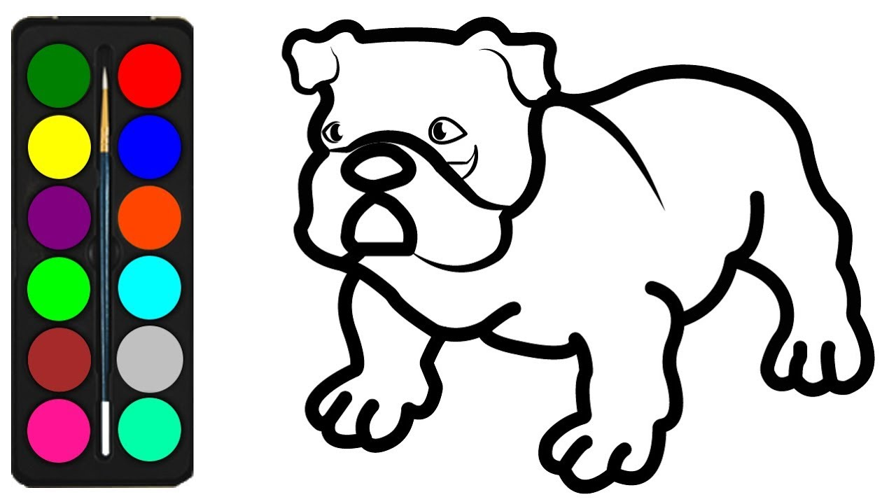 How to Draw a American Bulldog Coloring Pages for Kids - Learn ...