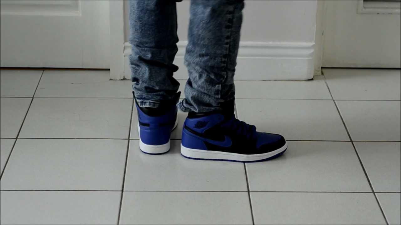 fe60ce1eb7f8fa 2013 Nike Air Jordan 1 OG Royal Blue On Feet Review - YouTube