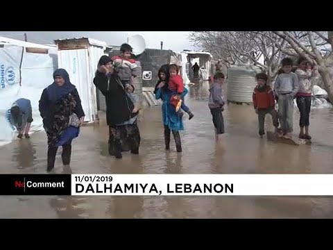 شاهد: عاصفة نورما في لبنان تزيد من معاناة اللاجئين في المخيمات العشوائية…  - 19:53-2019 / 1 / 12
