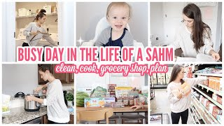 BUSY + PRODUCTIVE DAY IN THE LIFE OF A SAHM | CLEANING MOTIVATION  | COOK WITH ME 2019