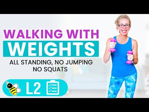 25 Minute WALKING with WEIGHTS, Knee Friendly Cardio Toning with Light Dumbbells Workout